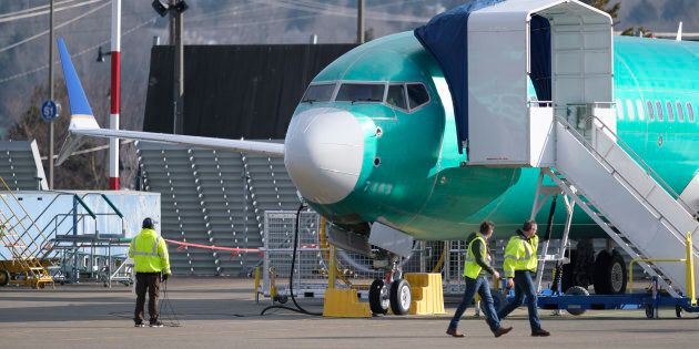 A Boeing 737 MAX 8 is pictured outside the factory on March 11, 2019 in Renton,