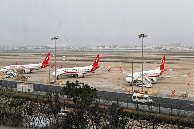 Boeing 737 MAX 8 planes from Shanghai Airlines parked at Shanghai Hongqiao International Airport in Shanghai,...