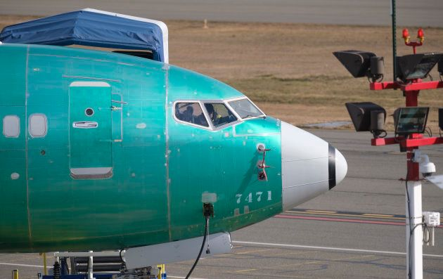 A Boeing 737 MAX 8 is pictured near the company's factory on March 11, 2019 in Renton,