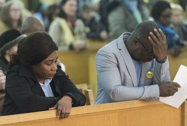 Ariel Kouakou's parents, Frederic Kouakou and Akouena Noella Bibie, attend a mass in Montreal on March...