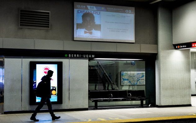 The photo of Ariel Kouakou appears on a screen of a subway station in Montreal on March 12,