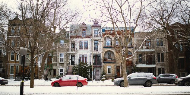 Rowhouses in Montreal's Plateau Mont-Royal neighbourhood. The city is the last one among Canada's major...