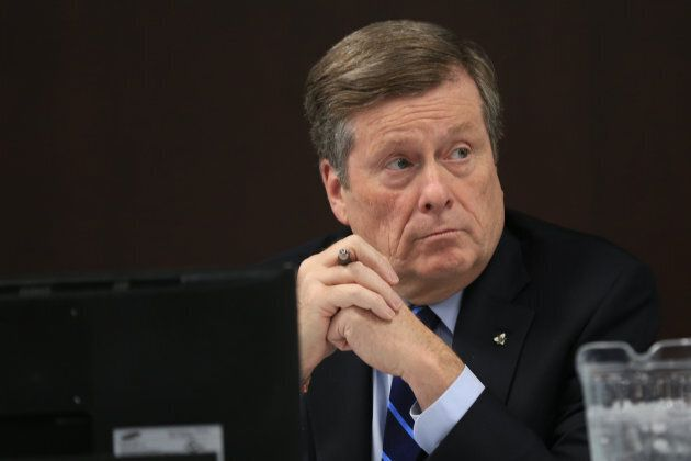 Mayor John Tory as the executive committee debates the budget in February 2019.
