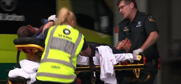 An image grab from TV New Zealand taken on March 15, 2019 shows a victim arriving at a hospital following the mosque shooting in Christchurch.