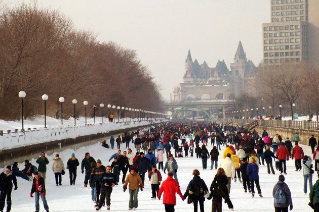 Skaters on the Rideau Canal in Ottawa.