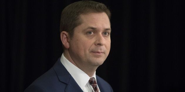 Conservative Leader Andrew Scheer speaks during a press conference in Toronto on March 7,
