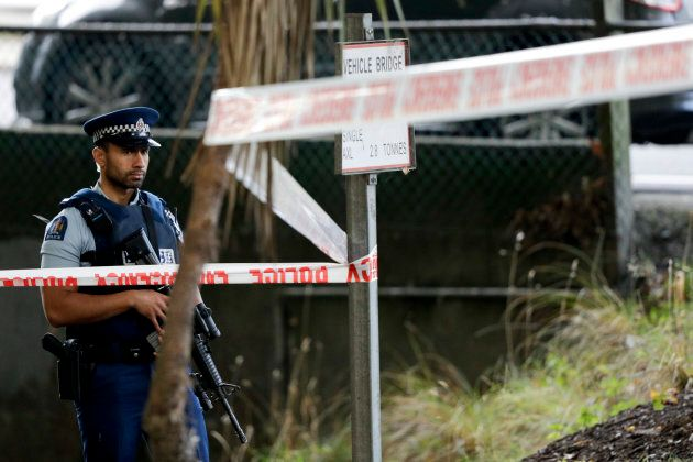 A police officer guards near the Masjid Al Noor mosque, site of one of the mass shootings at two mosques in Christchurch, New Zealand, on March 16, 2019.