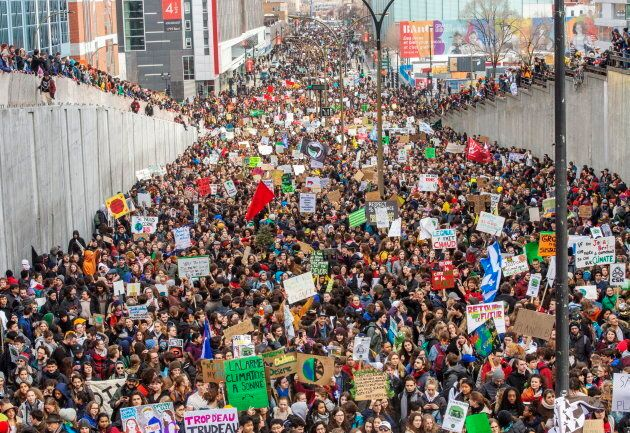Students hold a demonstration to protest against climate change, Friday, March 15, 2019 in Montreal....