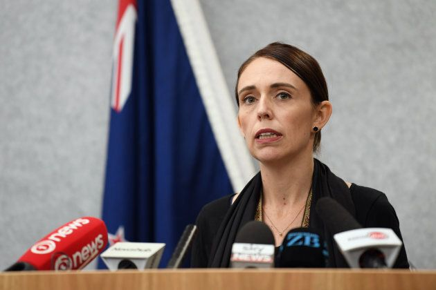 New Zealand Prime Minister Jacinda Ardern speaks to the media on