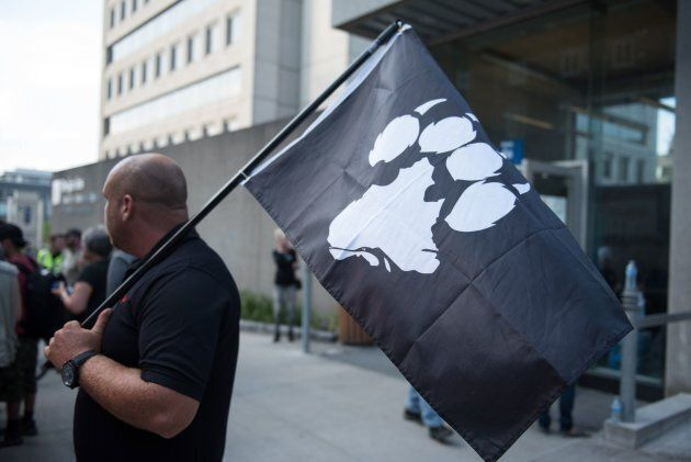 La Meute, a far-right, anti-immigration group, holds a rally in Quebec City on August 20,