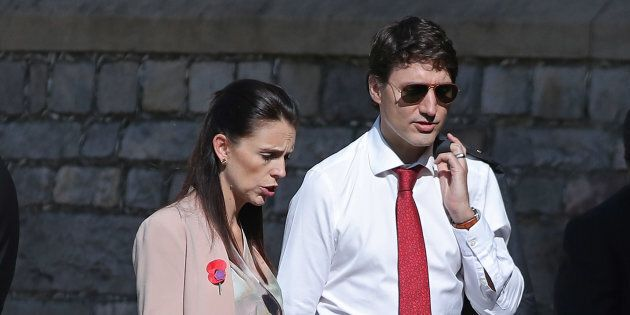 Prime Minister of New Zealand Jacinda Ardern and Canadian Prime Minister Justin Trudeau arrive at Windsor...