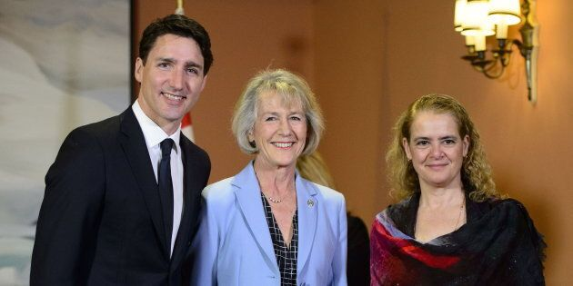 Prime Minister Justin Trudeau and Governor General Julie Payette stands with Joyce Murray after being sworn in a Treasury Board President during a cabinet shuffle at Rideau Hall in Ottawa on March 18, 2019.