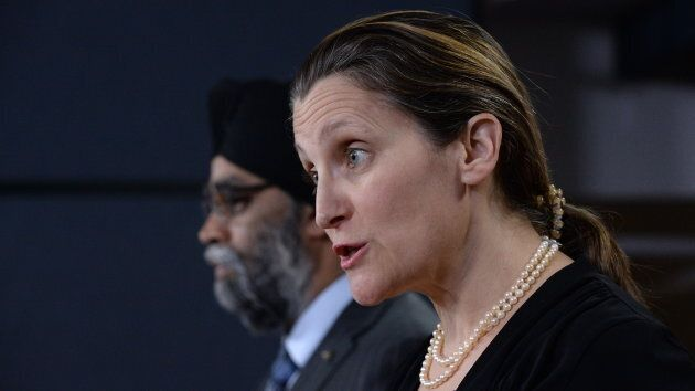 Foreign Affairs Minister Chrystia Freeland and Defence Minister Harjit Sajjan make an announcement in...