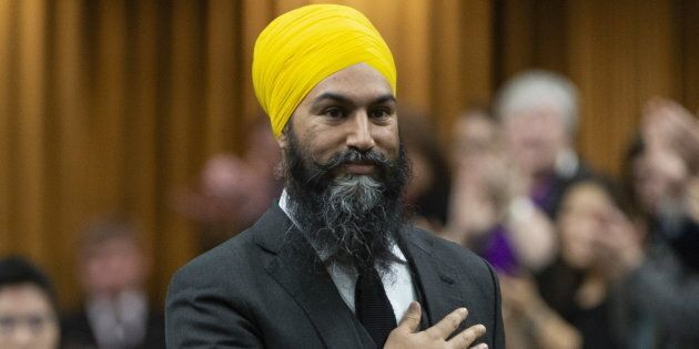 NDP LeaderJagmeetSinghis recognized in the House of Commons before taking his place before question...