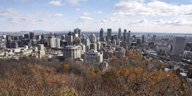 The Montreal skyline as seen from Mount Royal on Nov. 10,