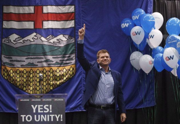 Former Wildrose leader Brian Jean celebrates the