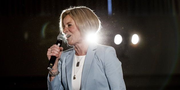 Alberta Premier Rachel Notley speaks to a large crowd during a rally in Edmonton on March 17,
