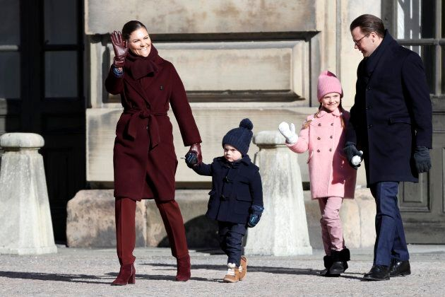 """Prince Oscar, who wants the world to know he'd rather be watching """"Paw Patrol,"""" walks with Crown Princess Victoria of Sweden, Prince Oscar of Sweden, Princess Estelle of Sweden and Prince Daniel of Sweden."""