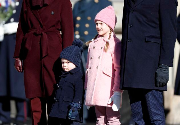 Prince Oscar of Sweden, having none of it, and Princess Estelle of Sweden attend the Crown Princess' Name Day celebrations at the Stockholm Royal Palace on March 12, 2019 in Stockholm, Sweden.
