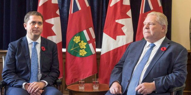 Federal Conservative Leader Andrew Scheer meets with Ontario Premier Doug Ford in the Queens Park Legislature in Toronto on Oct. 30, 2018.
