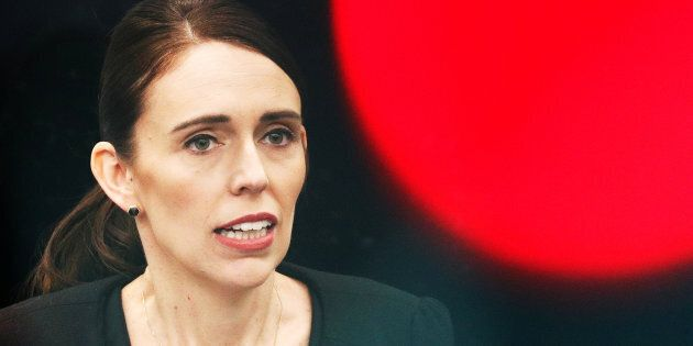 New Zealand's Prime Minister Jacinda Ardern attends a news conference after meeting with first responders...