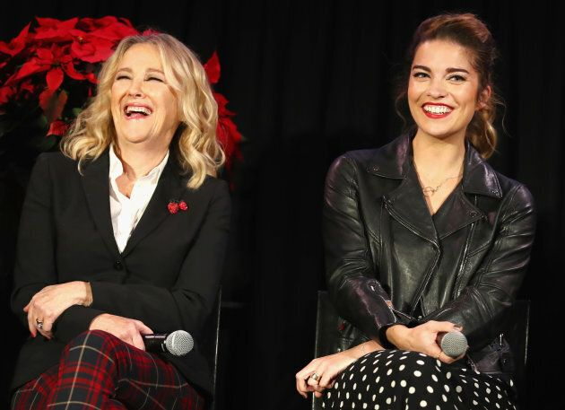 Catherine O'Hara and Annie Murphy crack up during the  'Schitt's Creek Holiday Spectacular!' during Vulture Festival on Nov. 17, 2018.