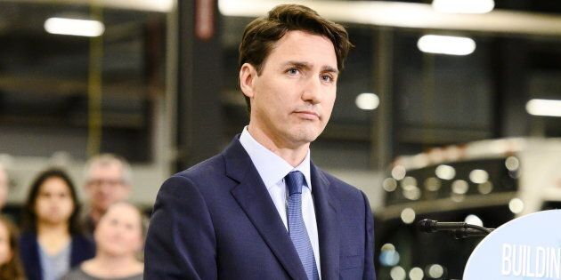 Prime Minister Justin Trudeau gives remarks at a transit maintenance facility in Mississauga, Ont. on...