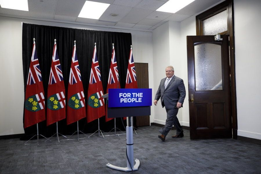 Ontario Premier Doug Ford arrives to a press conference at Queen's Park in Toronto to discuss the integrity...