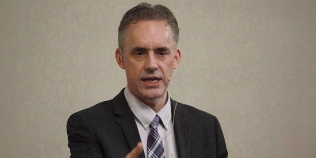 Jordan Peterson speaks to a crowd during a stop in Sherwood Park Alta, on Feb. 11,