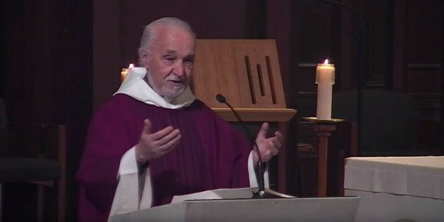 Father Claude Grou gives mass at Saint Joseph's Oratory in Montreal on March 15,