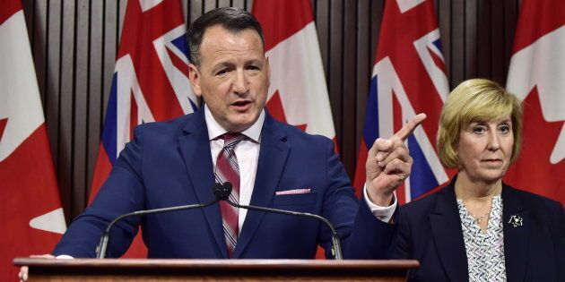 Ontario's Energy Minister Greg Rickford speaks at a press conference at Queen's Park in Toronto on Dec....