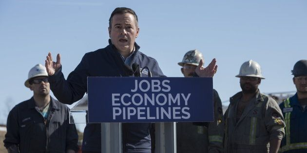 Alberta UCP leader Jason Kenney speaks at Total Energy Services in Leduc Alta. on March 19,