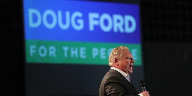 Ontario Premier Doug Ford, then PC leader, attends a debate at Cambrian College, Sudbury, Ont., on April...