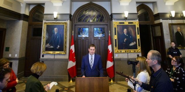 Conservative Leader Andrew Scheer holds a press conference on Parliament Hill in Ottawa on March 25,