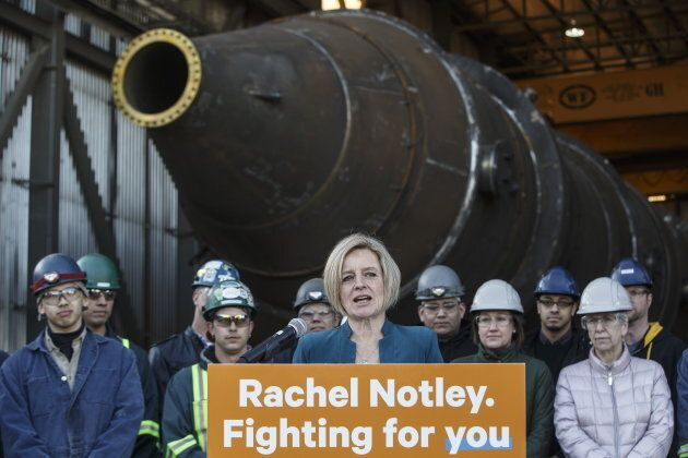 Alberta NDP Leader Rachel Notley makes a campaign stop in Edmonton Alta. on March 20,