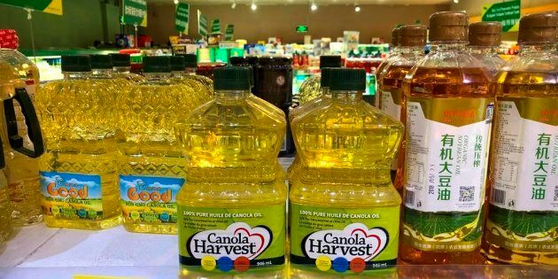 Bottles of Canola Harvest brand canola oil, manufactured by Canadian agribusiness firm Richardson International,...