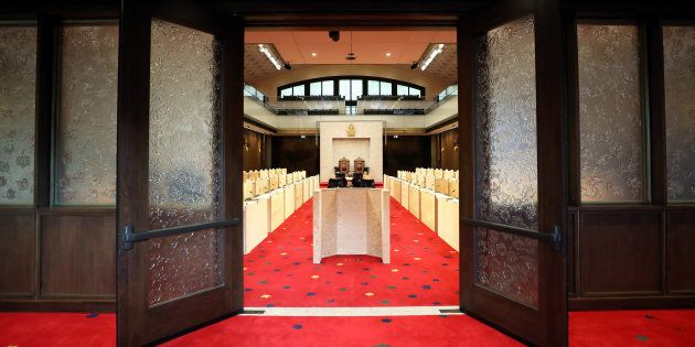 A view shows the interim Senate Chamber during a tour of the Senate of Canada Building in Ottawa, Dec....