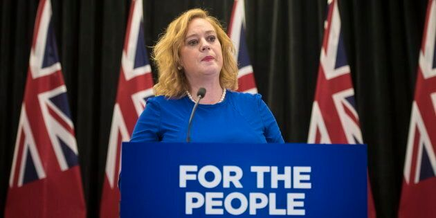 Ontario Minister of Children, Community and Social Services Lisa MacLeod speaks to reporters at Queen's...
