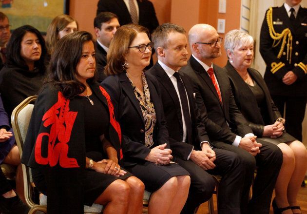 From left to right: Jody Wilson-Raybould, Jane Philpott, Indigenous Services Minister Seamus O'Regan,...