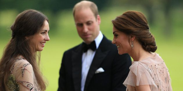 Prince William and Catherine, Duchess of Cambridge are greeted by Rose Hanbury, the Marchioness of Cholmondeley...
