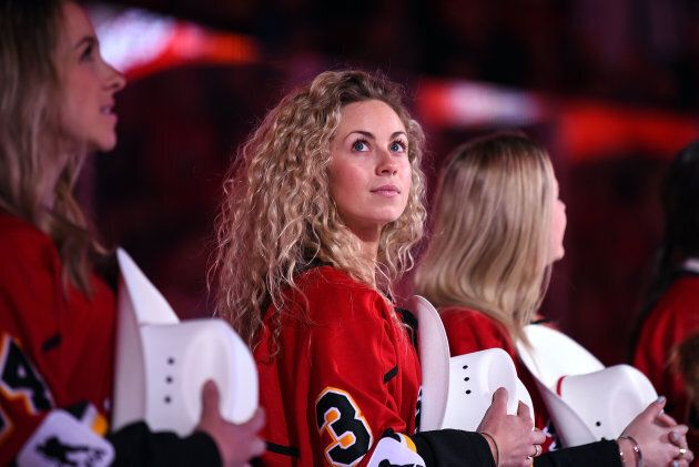 Members of the 2019 Clarkson Cup championship team, the Calgary Inferno, were honoured before the start...