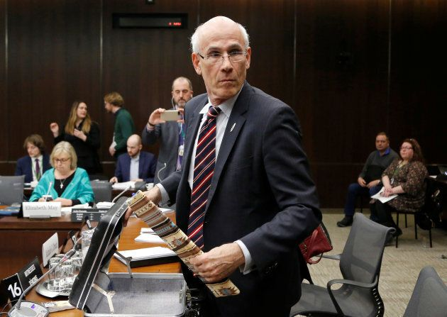 Outgoing Privy Council Clerk Michael Wernick leaves after testifying to the House of Commons justice...