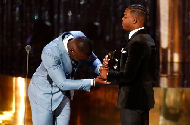 Shamier Anderson presents the Radius Award to his brother Stephan James at the 7th annual Canadian Screen...