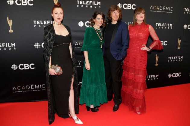 """Carolyn Taylor, Meredith MacNeil, Aurora Browne and Jennifer Whalen of """"Baroness Von Sketch Show"""" on the CSA red carpet."""