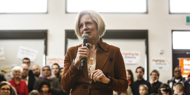 Alberta NDP Leader Rachel Notley makes a stop at a community centre while campaigning for the upcoming...