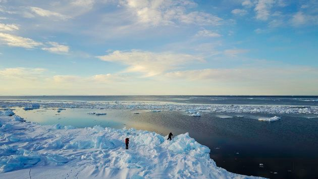 An ice floe edge in Admiralty Inlet, northern Baffin Island. The Canadian Arctic has been hit with a...