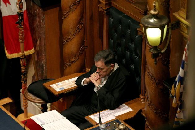 House Speaker Darryl Plecas looks on as Finance Minister Carole James delivers the budget speech at the...