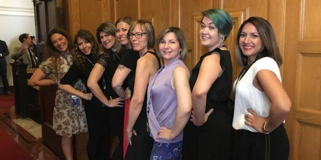 Bhinder Sajan, right to left, Shannon Waters, Liza Yuzda, Justine Hunter, Jen Holmwood, Katie DeRosa,...
