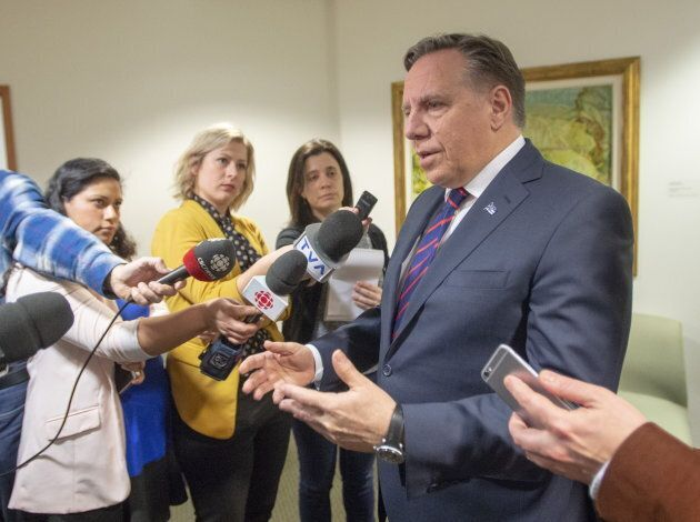 Quebec Premier Francois Legault speaks to the media on Feb. 15, 2019 in Montreal.