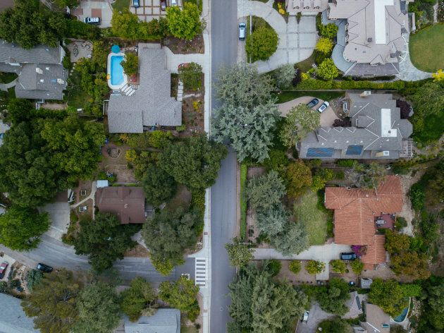 Aerial view of a suburban